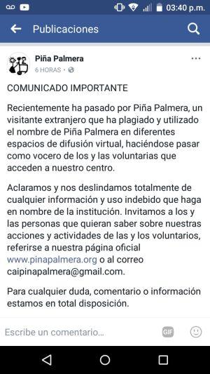 Comunicado Piña Palmera